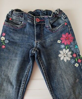 Pumpkin Patch Girls Floral Embroidered Jeans Size 5 Adjustable Waist Immaculate