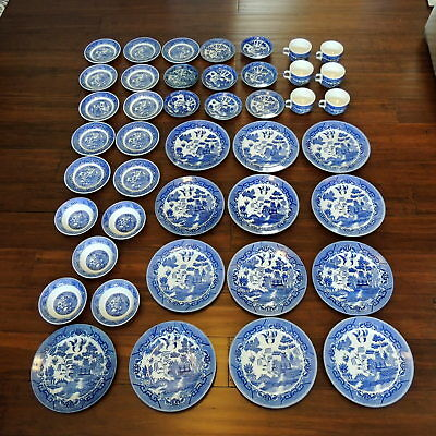Lot of 42 VTG Blue Willow Dishes Japan Plates Saucers Cups