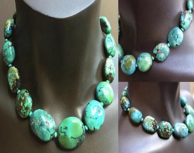 Natural turquoise oval 19 inch silver clasp large beads necklace