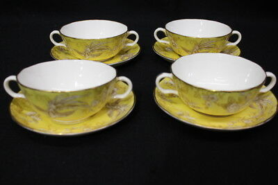 8pc Royal Worcester AVESBURY Variation Yellow & Tan BIRDS Cream Soup Bowls Set