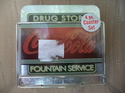 Coca-Cola Drug Store Fountain Service Metal Coasters - Set of 4 *SEALED*
