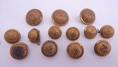 Antique Vintage Lot of 13 GAR Uniform Buttons Grand Army of the Republic