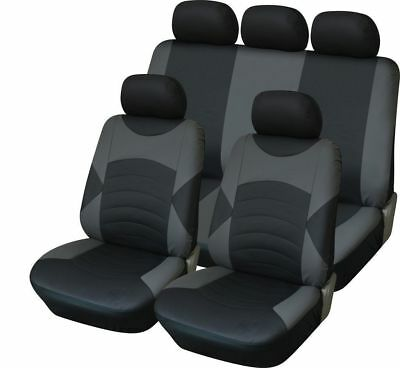 For Seat Leon Fr (06-) Leather Look Car Seat Cover Full Set Black / Grey