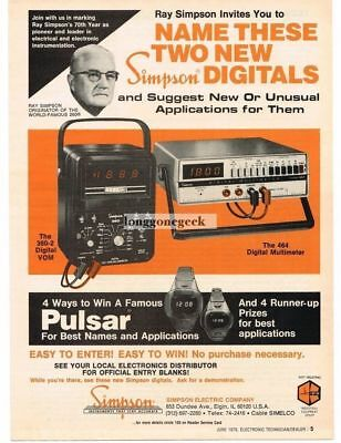 1976 Simpson 360-2 Digital VOM 464 Multimeter Test Equipment Vtg Print Ad