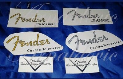 Fender Telecaster Decal Decalcomania chitarra guitar Gold / Grey Serial Number