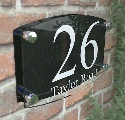 Modern House Number Plaques Acrylic Wall Door Sign Name Plate EMA4-2W-B