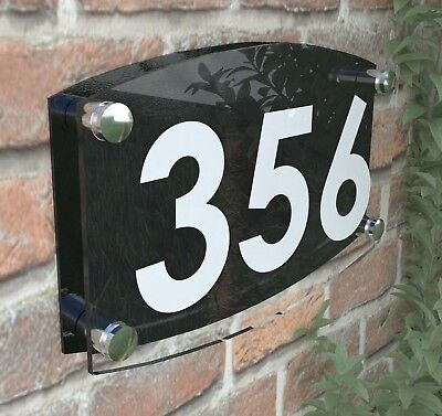Modern House Number Plaques Acrylic Wall Door Sign Name Plate EMA4-19W-B