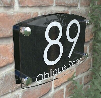 Modern House Number Plaques Acrylic Wall Door Sign Name Plate EMA4-27W-B