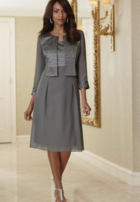 Midnight Velvet Gray Formal Georgette Jacket Dress Church 12 14 16 16W PLUS
