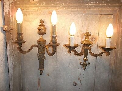 French 2 of gold patina bronze wall light sconce antique different patterned
