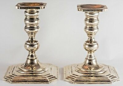 """Pair Of Sterling Silver Square Stepped Base Candlesticks 6"""" Tall"""