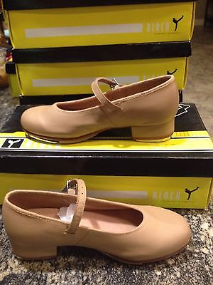 Women's 6.5 Bloch Brand Tan Leather Buckle Mary Jane Tap Dance Shoes New In Box!