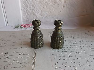 French antique ornate pull end cord tassel blind curtain knob pair/ patina