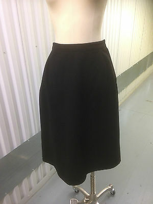 1950's Black Wool Full Skirt with Stylish Pleats at back, waist approx. 28""