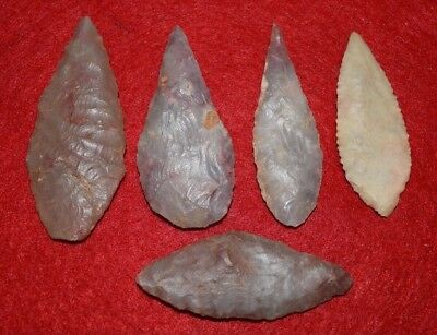 5 nice ovate Sahara Neolithic points/tools