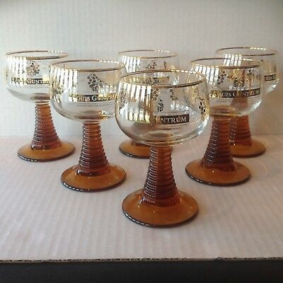 6 Luminarc France Wine Glasses Amber Bee Hive Stem LOUIS GUNDRUM Vine Design