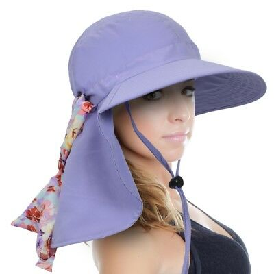 Sun Blocker UPF 50+ Protection Women Hat Cap With Ribbon Adjustable Drawstring