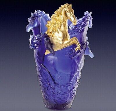 Daum Horse Vase Limited Edition Blue Gold 05381 11 2610000