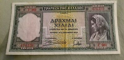 Greece P-110 1000 Drachmai 1939 Unc