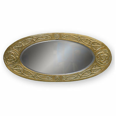 Arts & Crafts Brass Framed Wall Mirror with Celtic Knotwork Decoration c. 1920