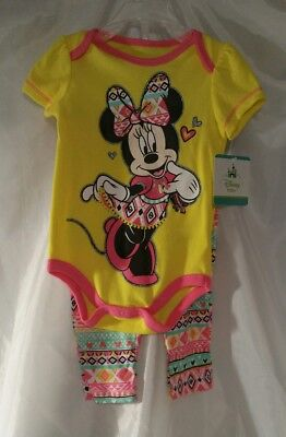 Minnie Mouse Childrens Clothes 3 - 6 mo Girls Shirt Pants Set Disney New Toddler