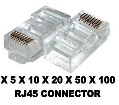 RJ45 CAT5 CAT5E CAT6 Modular Plug Network Connector Ethernet Broadband ADSL