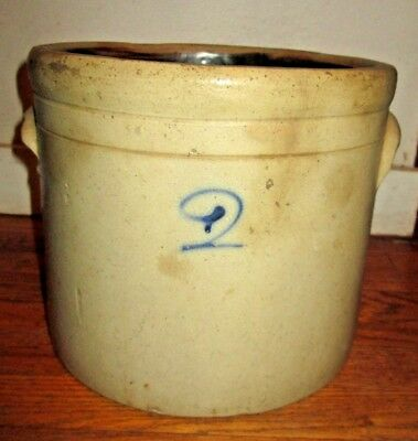 Vintage/Antique 2 Gallon Stoneware Crock w/Colbolt Blue #2 on it