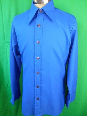 Vintage 1970s Royal Blue Daire Polyester Crepe Disco Party Formal Shirt M-L