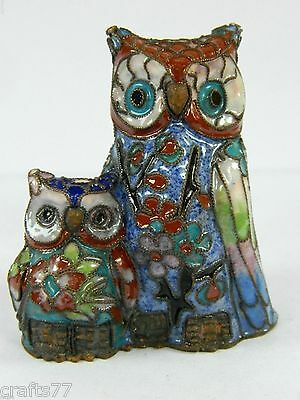 Vintage Cloisonne Copper Enamel Owl Mother & Child  Figurine,Chinese Handicraft