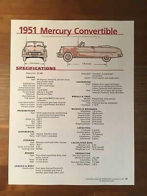 1951 Mercury Convertible Specification Sheet Magazine Ad