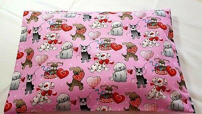 New Printed Girls Cotton Toddler pillowcase - Cute dogs with hearts