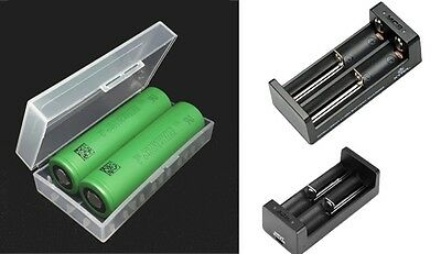 2x Sony Konion Batterie Rechargeable US 18650 VTC5 3,7v 2600mAh Inclus Xtar MC2