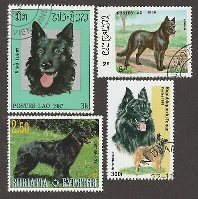 BELGIAN SHEEPDOG SHEPHERD GROENENDAEL *Int'l Dog Postage Stamps*Unique Gift*