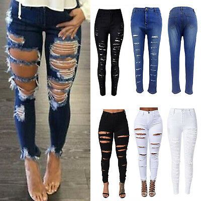 Womens Stretch Ripped Skinny High Waist Denim Pants Jeans Slim Fit Trousers 6-14