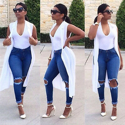 Womens Stretch Ripped Skinny High Waist Denim Jeans Jeggings Pants Slim Trousers