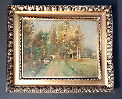 Beautiful Impressionist in the Painting Style Barbizon. Old Landscape Oil on