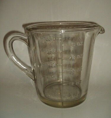 Glass Measuring Jug Graduated 2 Pint / 40 Oz / 5 Cup = Retro Vintage Kitchenware