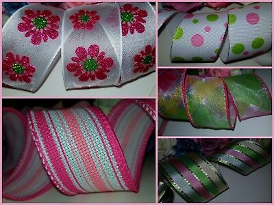 """Pink Green Pastel Wire Wired Edge Ribbon 1.5"""" wide Birthdays Presents, Floristry"""
