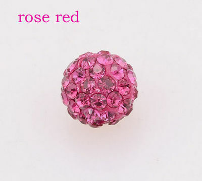 100 Pcs 10MM Rose Red Shamballa Beads Crystal Pave Disco Balls Fit Braclet