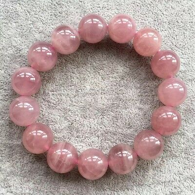 AAA 14mm Natural Madagascar Rose Quartz Crystal Round Beads Bracelet Young Girl
