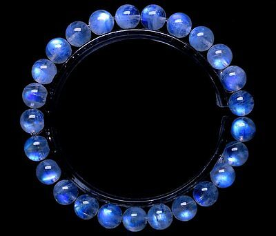 7mm Natural Magic Moonstone Blue Light Transparent Beads Woman Bracelet AAAA