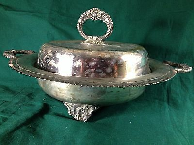 Antique Lidded Footed Serving Dish Silverplate--Gruris Plate Industria Argentina