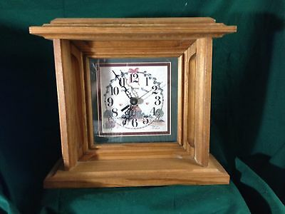 "Large Wood Mantle Clock--Quartz-""Home Sweet Home""  9 1/2"" T by 10 3/4"" W"