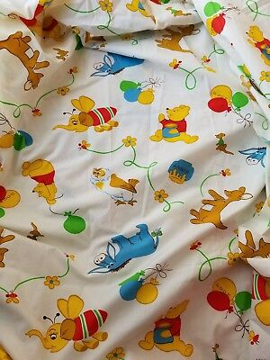 Vintage Early Sears Winnie the Pooh print Crib Toddler Fitted Sheet Never Used