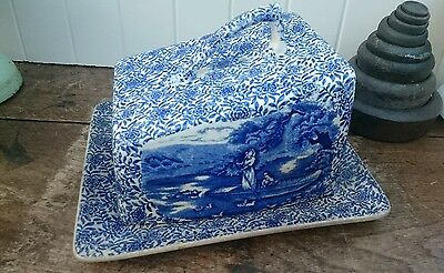 Vintage Arthur Wood Cheese/Butter Dish - 'Country Life' - Blue and White Chintz