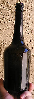 Large 1850's Iron Pontil French Calvados Black Glass Booze Bottle, Brandy