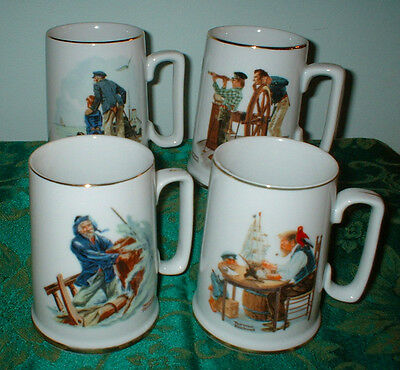 4 Norman Rockwell Porcelain Tankard Mugs Nautical Theme 1985 Vintage New