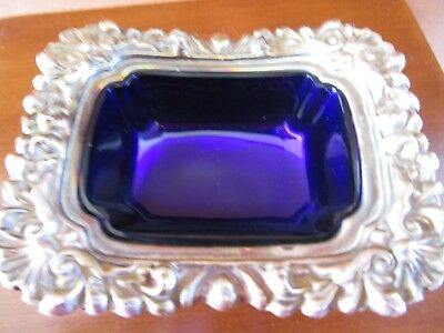Antique Ornate Silver Plate And Cobalt Glass Salt Cellar Lions Faces And Paws
