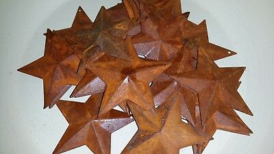 """Lot of 25 Rusty 2.25"""" (2-1/4"""") Country Stars, 3D, Rusted, Hang Hole, Star"""