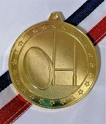 50mm Gold Rugby Medal with Ribbon gdt G795